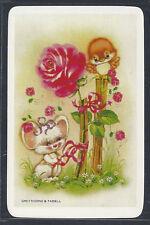 #915.099 Blank Back Swap Cards -MINT- White mouse, pink rose & orange bird