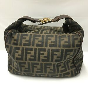 Auth Fendi Zucca Pouch Bag canvas Brown From Japan 0704*63