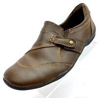 Earth Womens Size 7 M Brown Leather Slip On Loafer Drivers Heel Casual Shoes