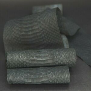 Authentic Asia Nubuck Snakeskin Snake Skin leather Backcut Hide Black