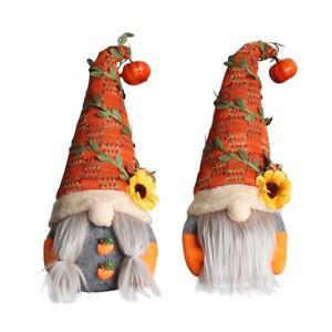 2Pcs Fall Gnome Autumn Pumpkin Sunflower Swedish Tomte Elf Dwarf Ornament Decor