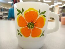 VINTAGE Fire King White Milk Glass Flower Mugs Blue Yellow Orange EXCELLENT
