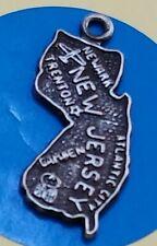Z100 New Jersey State Map Sterling Silver Vintage Bracelet Charm