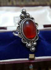 STERLING SILVER RING, ETHNIC STYLE, FREE SIZE, RED AGATE GEMSTONE, 925 SILVER