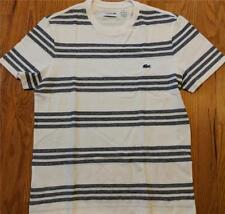 Mens Authentic Lacoste Striped Cotton/Linen T-Shirt Flour/Navy Blue 4 Medium