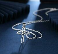 Heart Angel Wing Cross 925 Sterling Silver SP Cubic Zirconia Pendant Necklace