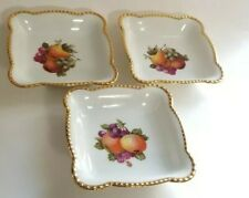 "Schumann Bavaria fruit motif 3 square bowls gold trim 4.75"" Arzberg Germany"
