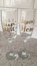 PERSONALISED HEN PARTY WEDDING GLASS STICKER PROSECCO TEAM BRIDE TRIBE SQUAD
