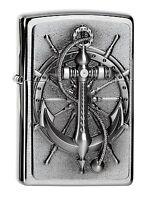ZIPPO Benzin Feuerzeug Nautic Anchor Emblem 2004290 NEU OVP