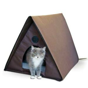 K&H PET PRODUCTS 3992 Chocolate OUTDOOR HEATED MULTIPLE KITTY A-FRAME CHOCOLA...