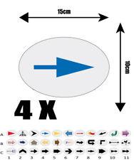 4X autocollant Oval  15cm avec impression  FLECHE REF A4 flèche DIRECTION