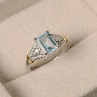 Aquamarine Gemstone Ring Natural 1.70 ct Diamond Rings Solid 14kt White Gold MP9