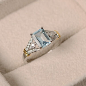 Aquamarine Gemstone Ring Natural 1.70 ct Diamond ring Solid 14K White Gold M N P