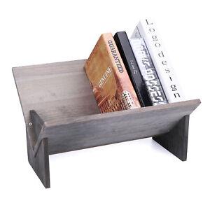 MyGift Rustic Barnwood Gray Tilted Desktop Bookshelf Storage Organizer Display