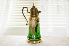 DIPINTO A MANO Elegant Emerald Green Glass Gold Gilt Pitcher With Lid Italy