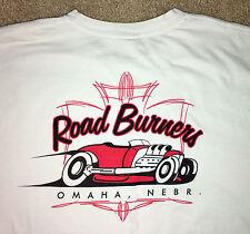 Road Burnes Hot Rot Car Club Men's White  XL Short Sleeve T-Shirt Hanes
