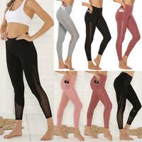 Women High Waist Sports Mesh Yoga Pants With Pocket Fitness Gym Workout Leggings