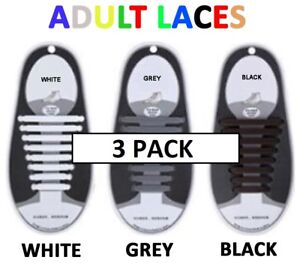 3 x Adult Shoelaces Silicone No Tie Shoe Laces Easy Lazy Lace Strings Rubber men