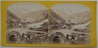 Suisse Hospice Grand-Saint-Bernard Monte Bianco Foto Stereo Vintage Albumina