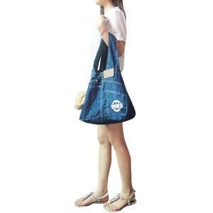 Dark Blue Denim Pet Dog Carrier Bag Dog Cat Shoulder Sling Bag Tote Handbag