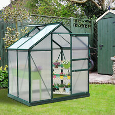 More details for outsunny 6x4ft walk-in polycarbonate greenhouse plant grow galvanized aluminium
