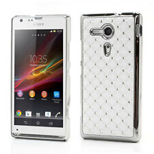 Schutz Hülle Hard Case BackCover Sony Xperia SP M35h C5303 Strass LUXUS WEIß AWE