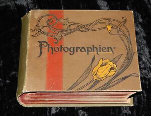 antikes FOTOALBUM mit FOTOS JUGENDSTIL 82 BILDER 19 x 15 cm