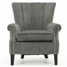 Olenka Velvet Wing Back Occasional Accent Lounge Chair Armchair Grey Fabric Tub