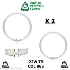 2 X BELL T5 CIRCULAR FLUORESCENT TUBE T5 22 WATT COL865 2GX13 CIRCLINE DAYLIGHT