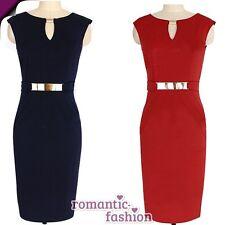 ♥ Größe 34-42 Knielanges Abendkleid, Etuikleid in Blau oder Rot+NEU+SOFORT ♥