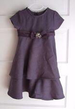 Girls Bonnie Jean 5 Herringbone Tweed Ruffles Tiered Sash Bow Midi Dress Purple