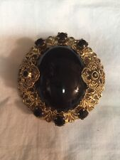 Retro Victorian Style Gold & Black Pin Brooch