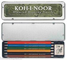 KOH-I-NOOR Diamante 2mm disegno matite-stagno, del 6 colorate PIOMBO FRIZIONE matite.