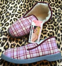 French Women Charentaise Slippers~Pink Plaid & Sheep Wool Shearling ~New~6.5 / 7