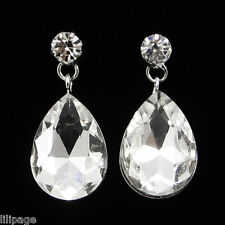Pierced Sparkly Crystal Tear Drop Dangle Droplet Earrings for Pierced Ears