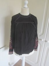 BNWT H&M BLACK & SILVER STUD EMBROIDED SLEEVE BOHO BLOUSE SIZE 6 RRP 29.99
