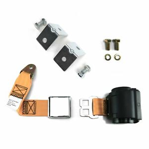 2pt Peach Retractable Airplane Buckle Lap Seat Belt w/ Anchor Hardware