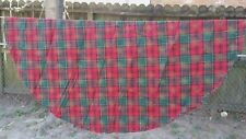 "Red Green Gold Poinsettia Christmas Plaid Round 62"" Tablecloth Free Shipping"
