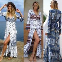 Ladies Bohemian Summer Beach Long Maxi Dress Evening Party Swimwear Sundress