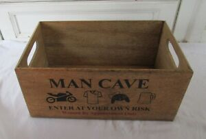 New MAN CAVE Enter At Your Own Risk Wooden Storage Box with Handles