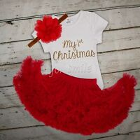 """MY First Christmas"" Baby Girl Tutu Dress Romper Bodysuit Outfits Christmas Gift"