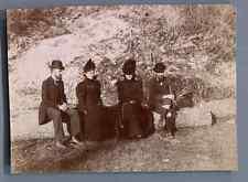 France, Saint Aubin, Groupe de touristes posant  Vintage citrate print.  Tirag