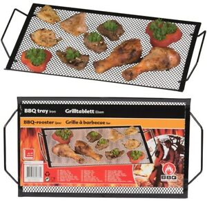 Large BBQ Barbecue Tray Rack Frying Grill Grid Party Kitchen Catering Metal BLK