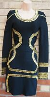 HERVE LEGER BLACK GOLD BEADED LONG SLEEVE SEQUIN BANDAGE BODYCON PARTY DRESS S