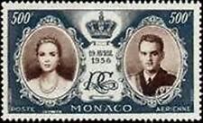 "MONACO POSTE AERIENNE YVERT 65 "" MARIAGE GRACE RAINIER III 500F 1956 "" NEUF x TB"