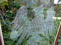 glass panel stained window etched eagle crowns oak frame phoenix royal art deco