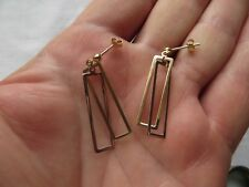 FAB PAIR OF VINTAGE TOP QUALITY  9ct YELLOW & WHITE GOLD HOOP EARRINGS. 2g