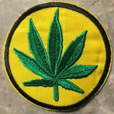 """Pot Leaf Hippie Patch-Sew On Or Iron On-1 BRAND NEW-Approx.3"""" Round-COOL MAN!"""