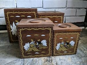 Vintage Japan Wood Nesting Boxes Canisters Set of 4
