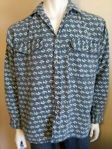 VADIM vintage mens size Medium shirt 90s crazy goat print faded denim look retro